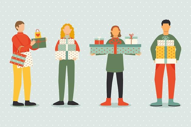 Pack de personas comprando regalos de navidad