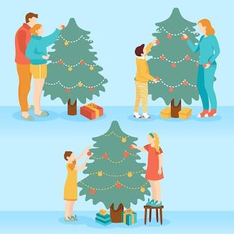 Pack de personas decorando el árbol de navidad
