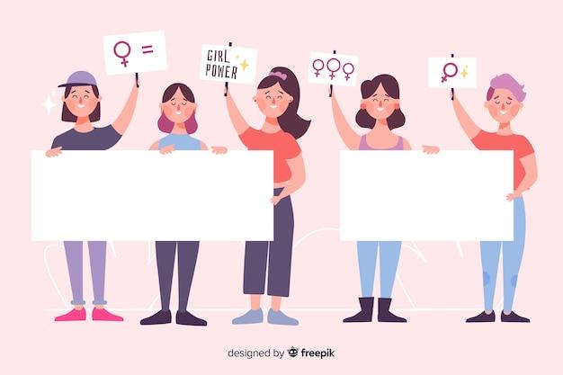 Pack de personas ilustradas con pancartas vacías