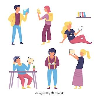 Pack de personas leyendo libros