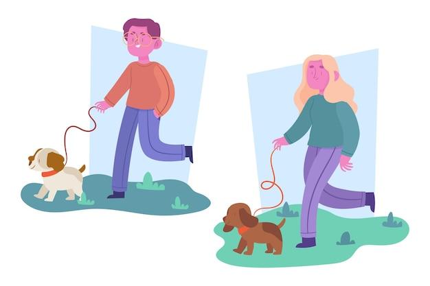 Pack de personas paseando a su perro
