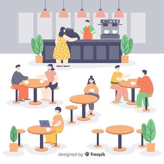 Pack de personas sentadas en una cafetería
