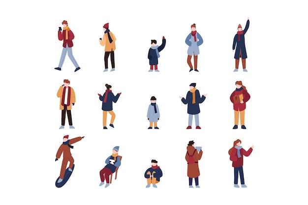 Pack de personas vestidas con ropa de invierno