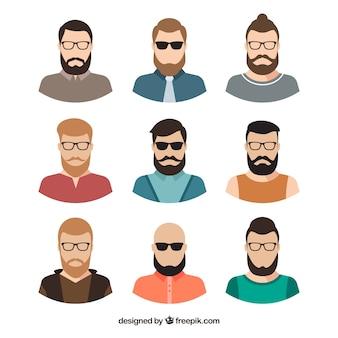 Pack plano de avatares masculinos modernos