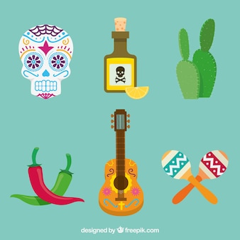 Pack plano de elementos mexicanos divertidos