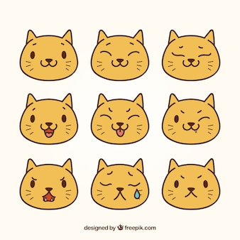 Pack plano de emoticonos de gato bonito