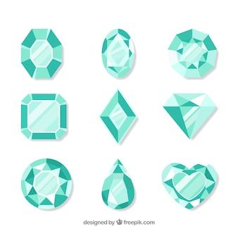 Pack plano de gemas preciosas en tonos verdes