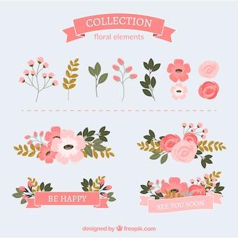 Pack plano con hermosa decoración floral