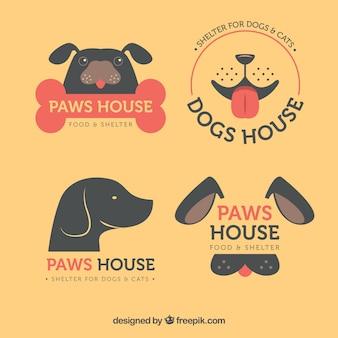 Pack plano de logos de perros con elementos rojos