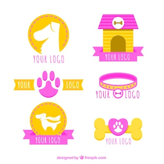 Pack plano de logos de perros con elementos rosas