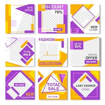 Pack para la plantilla de banner de post amarillo de moda instagram instagram