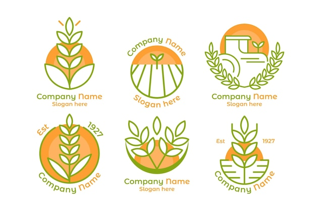 Pack de plantilla de logotipo de arroz