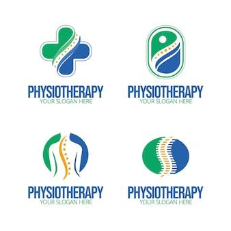 Pack de plantillas de logotipos de fisioterapia plana