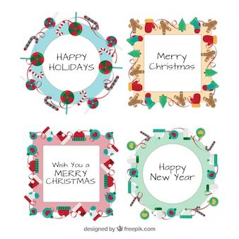 Pack de plantillas de marcos de decoración navideña