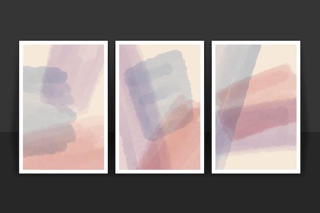 Pack de portadas de formas abstractas de acuarela