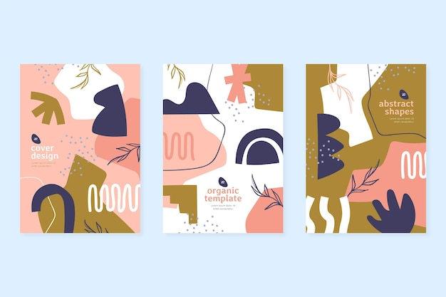 Pack de portadas de formas abstractas dibujadas a mano