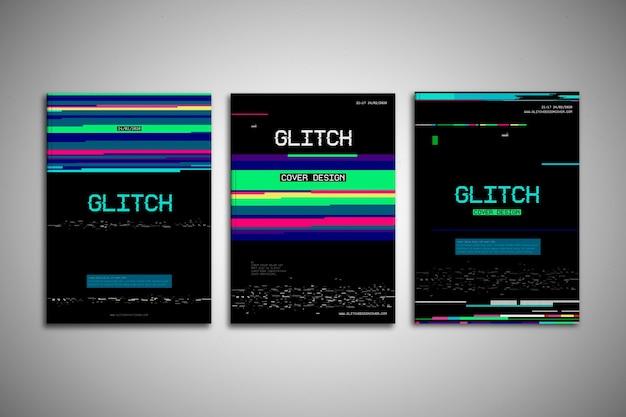 Pack de portadas glitch de diseño gráfico
