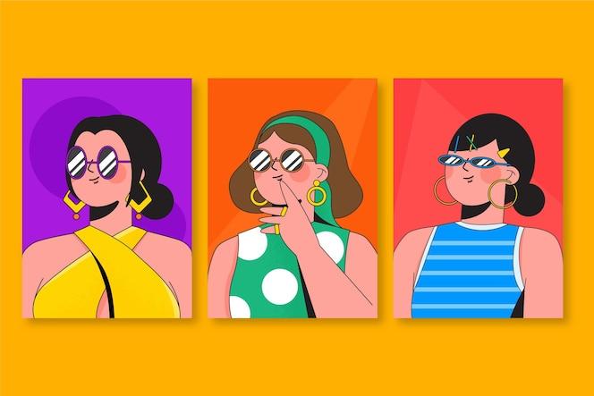 Pack de portadas de retratos planos de moda