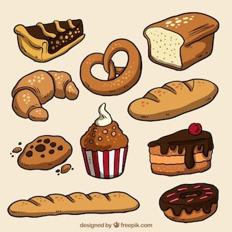 Pack de productos de panadería dibujados