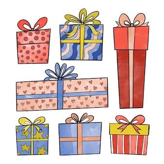 Pack de regalos de navidad en acuarela