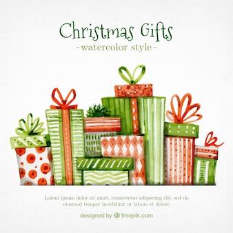 Pack de regalos de navidad en estilo de acuarela