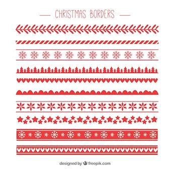 Pack rojo de bordes de navidad