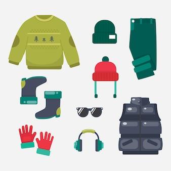 Pack ropa de invierno de diseño plano