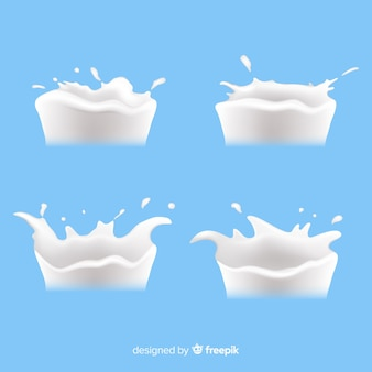 Pack de salpicaduras de leche realista