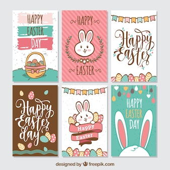 Pack de seis creativas tarjetas de pascua