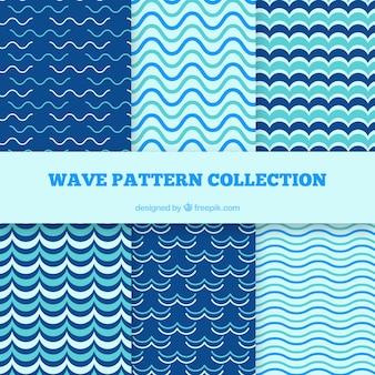 Pack de seis patrones de olas planos