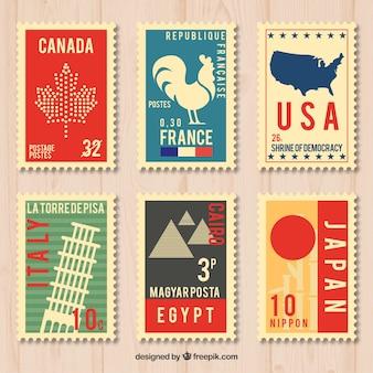 Pack de sellos de ciudades en estilo vintage