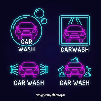 Pack señales neón lavadero de coches