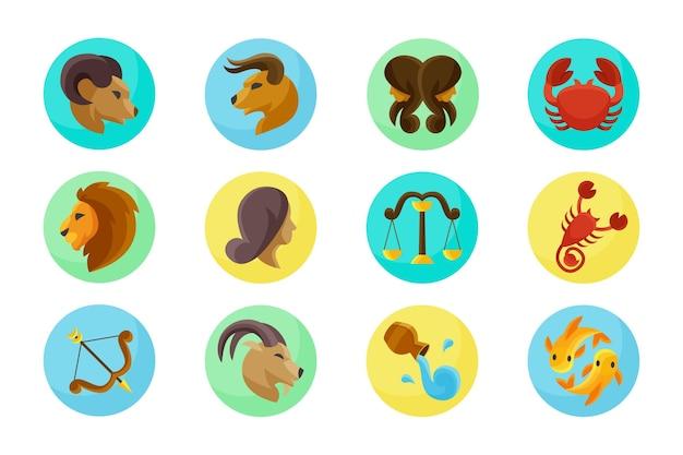 Pack de signos del zodiaco de diseño plano