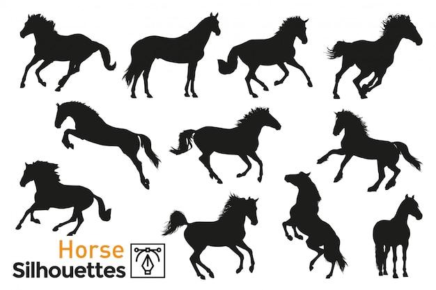 Pack de siluetas de caballos.