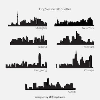 Pack de siluetas de horizonte de ciudad