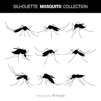 Pack de siluetas de mosquitos en estilo flat
