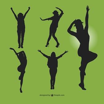 Pack de siluetas de mujeres bailando