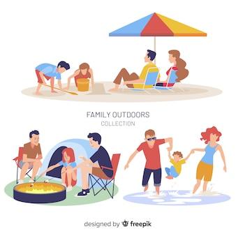 Pack situaciones exteriores en familia dibujadas a mano