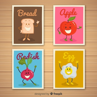Pack tarjetas comida animada