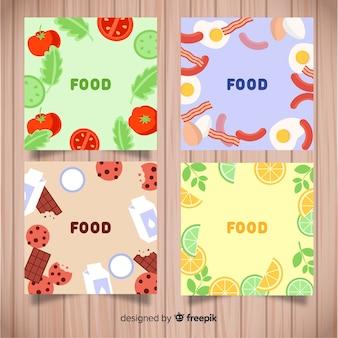 Pack tarjetas comida dibujadas a mano
