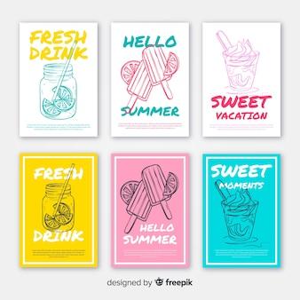 Pack tarjetas comida verano dibujada a mano