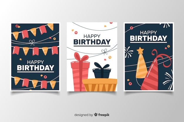 Pack de tarjetas de cumpleaños con decoraciones en diseño plano