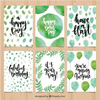 Pack de tarjetas de cumpleaños con formas abstractas de acuarela y globos