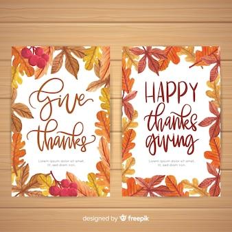 Pack de tarjetas de  día de acción de gracias  en acuarela