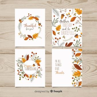 Pack de tarjetas de  día de acción de gracias  dibujadas a mano