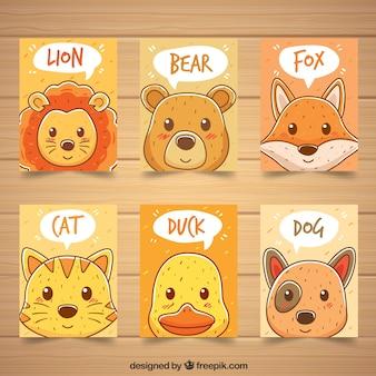 Pack de tarjetas dibujadas a mano con animales adorables