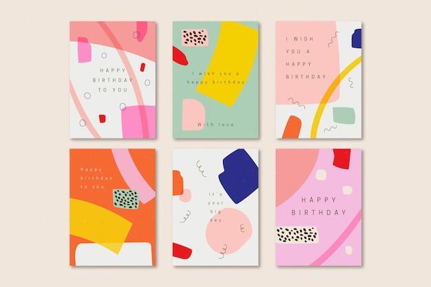 Pack de tarjetas de felicitación de cumpleaños dibujadas a mano vector gratuito