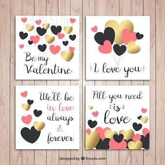Pack de tarjetas con frases de amor y corazones