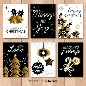 Pack de tarjetas de navidad elegantes dibujados a mano