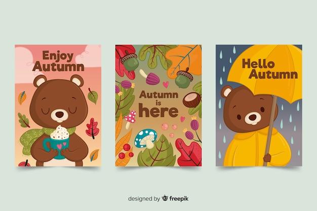 Pack de tarjetas otoñales de oso